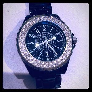 Black bling watch